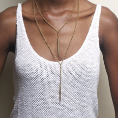Layered Moto Necklace: Brass