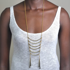 Layered Bar Necklace: Brass