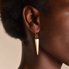 Pyramid Earrings: Brass