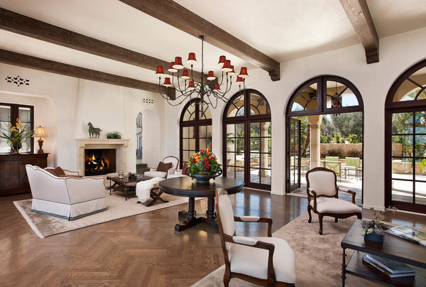 mediterranean villa arched windows in the living room