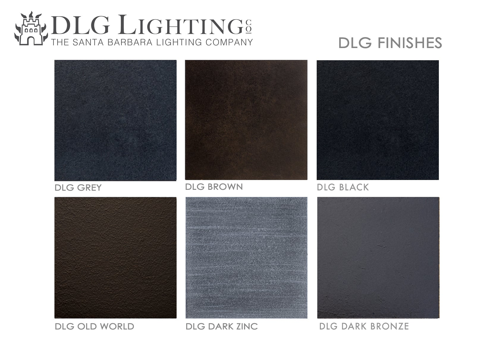 DLG Lighting Finish Swatches - The Santa Barbara Lighting Company