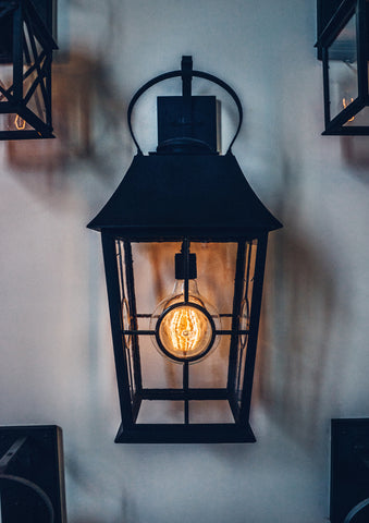 Bridgeport Lantern with LED Edison Style Dimmable Globe Bulb DLG Lighting Co.