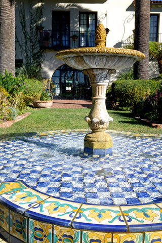 Biltmore Hotel Santa Barbara hand painted tile fountain- DLG Lighting Co.