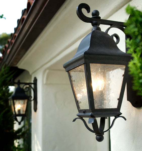 wrought iron exterior light fixtures on a Spanish Residence