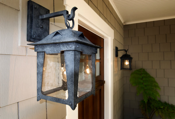 Loma wrought iron exterior lanterns on a craftsman style Santa Barbara Bungalow