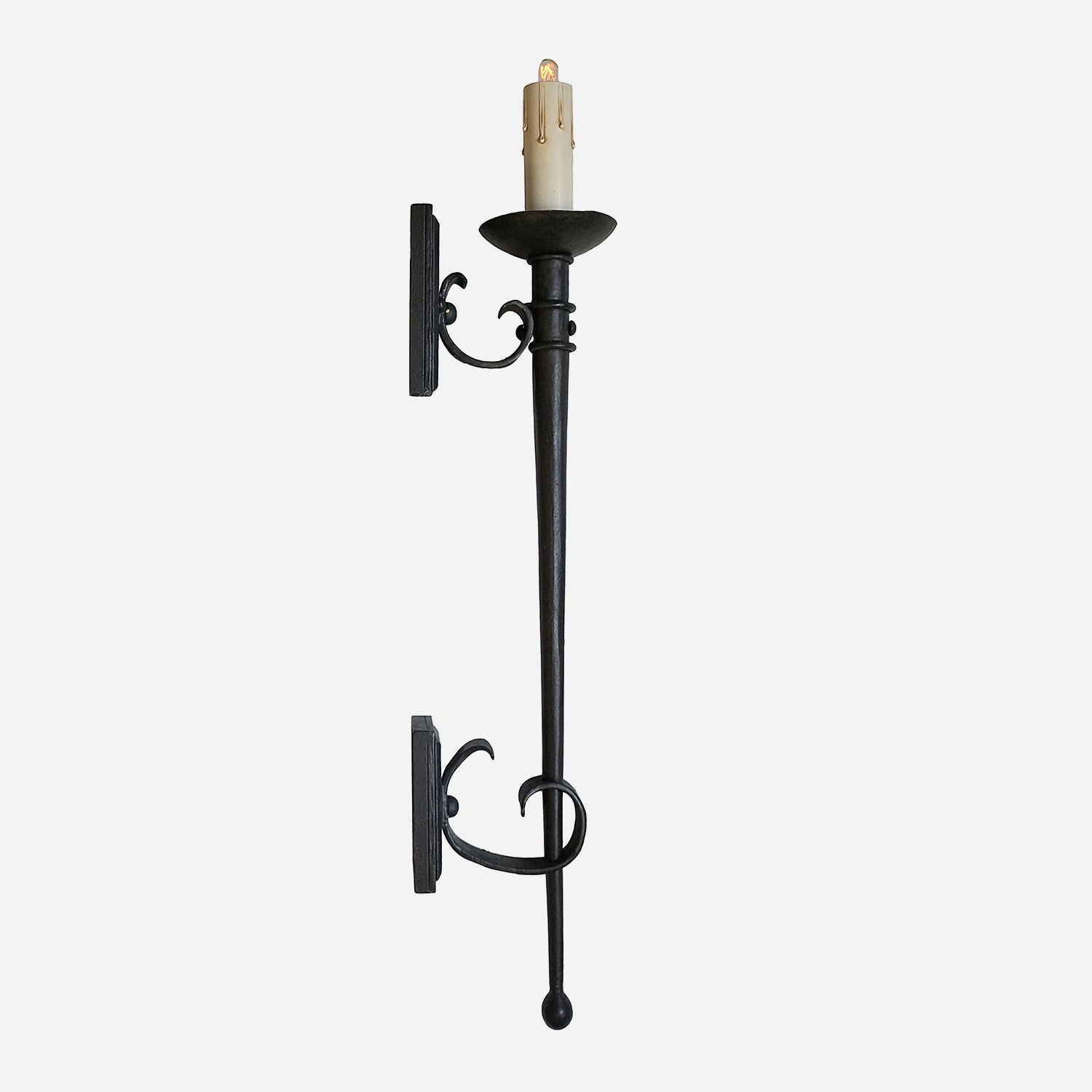 Traditional Torchiere Wrought Iron Interior Sconce Spanish Colonial Influence