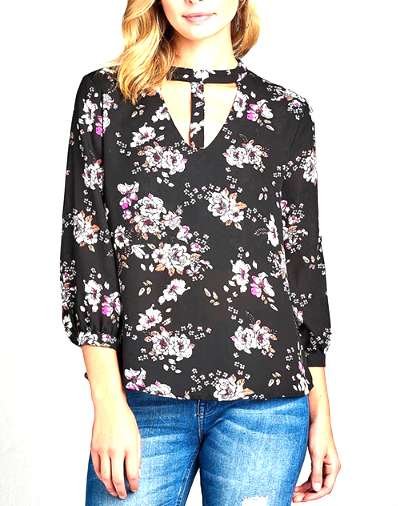 Black 3/4 Sleeve with T-Strap Neckline Floral Top