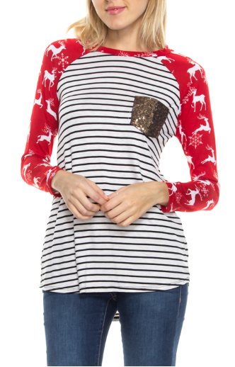 Reindeer Sequin Pocket Striped Long Sleeve Top Red & Oatmeal