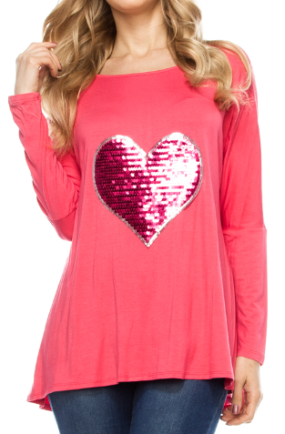 America's Sequin Sweetheart Pink Tunic Long Sleeve Top