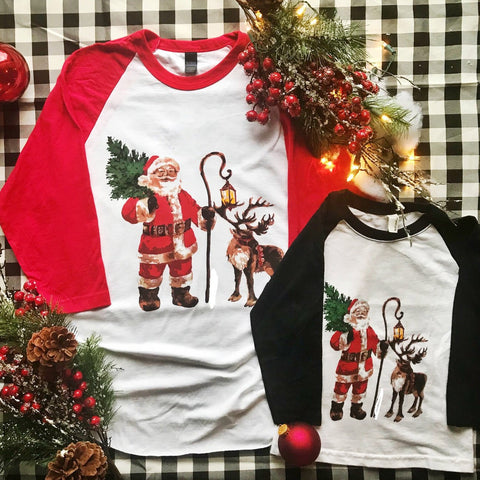 Kids Santa & His Reindeer 3/4 Sleeve Tee