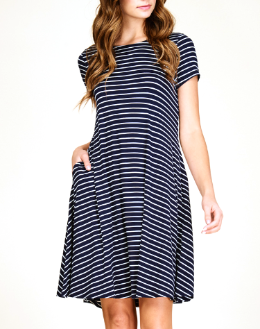 Navy & White Striped Dress with Pockets