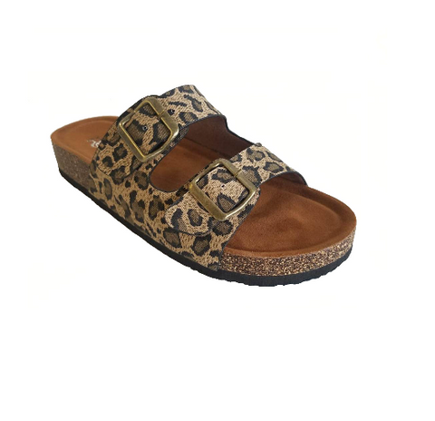Leopard Slide-On Sandals