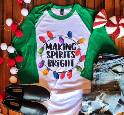 Making Spirits Bright 3/4 Sleeve