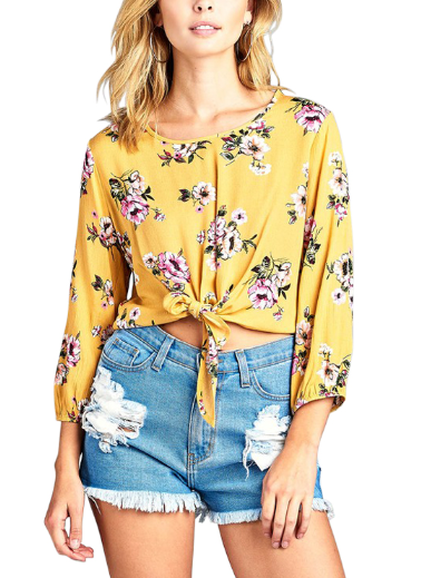 Mustard Yellow Long Sleeve Front Tie Floral Top