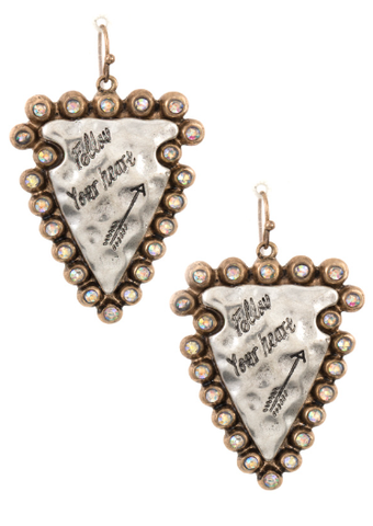 """Follow Your Heart"" Arrowhead Earrings"