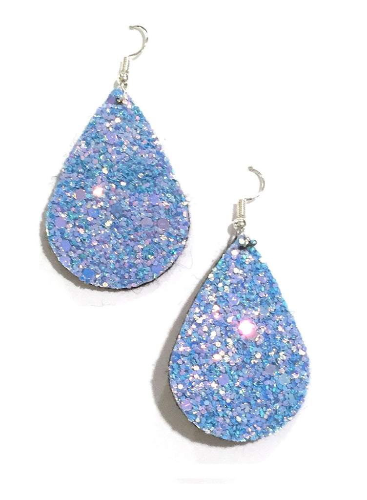 Light Blue Glitter Teardrop Earrings