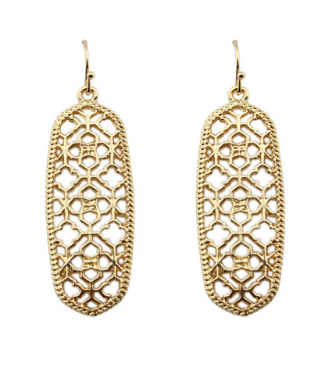 Elongated Gold Drop Earrings