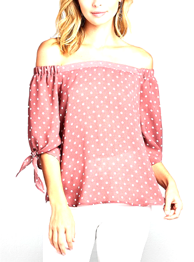 Mauve with White Dots 3/4 Sleeve Tie Off Shoulder Top