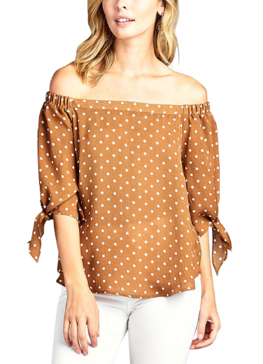 Dusty Mustard with White Dots 3/4 Sleeve Tie Off Shoulder Top