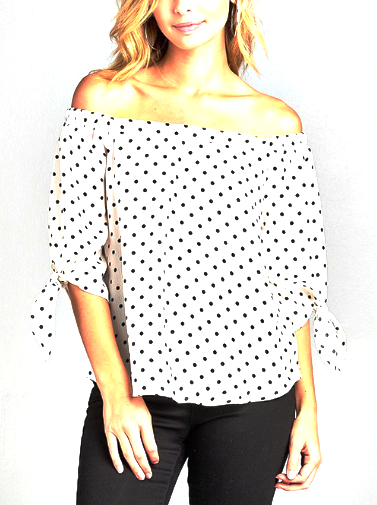 Off White with Black Dots 3/4 Sleeve Tie Off Shoulder Top