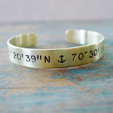 Brass Anchor Cuff Bracelet, Custom Latitude Longitude Location Jewelry - Cuff Bracelet - [PearlieGirl]