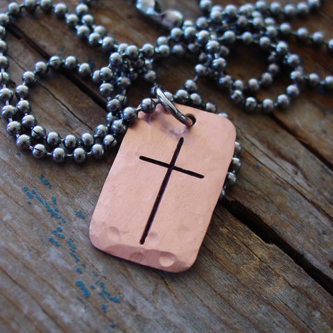 Mens Copper Cross Necklace | Religious Jewelry - Necklace - [PearlieGirl]