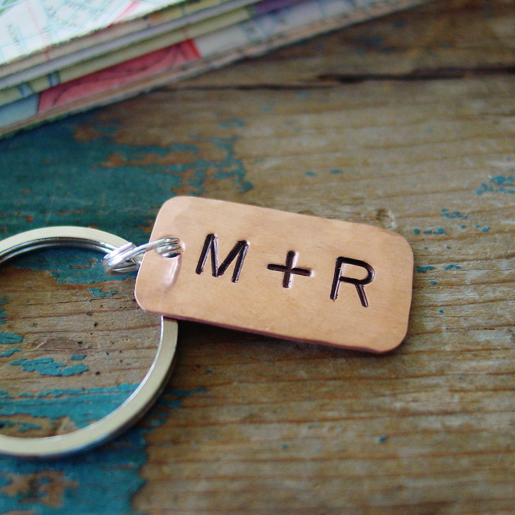 Couple Initials Copper Keychain - PearlieGirl