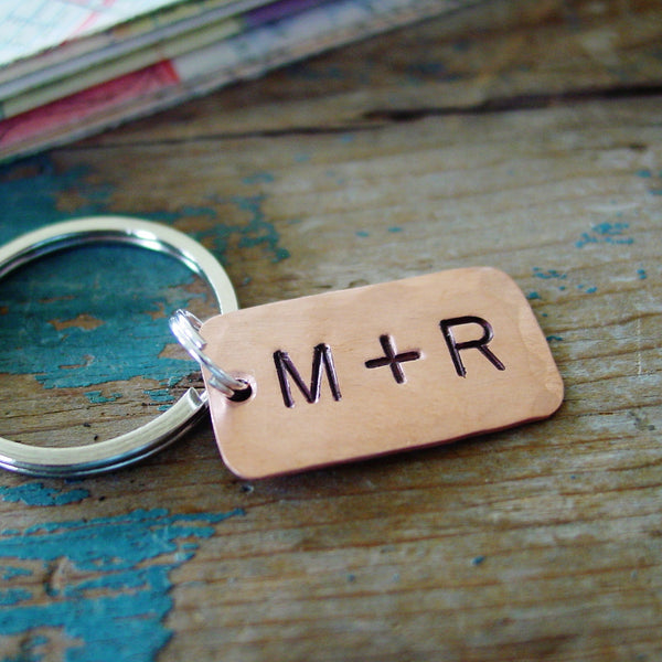 Couple Initials Copper Keychain - Keychain - [PearlieGirl]