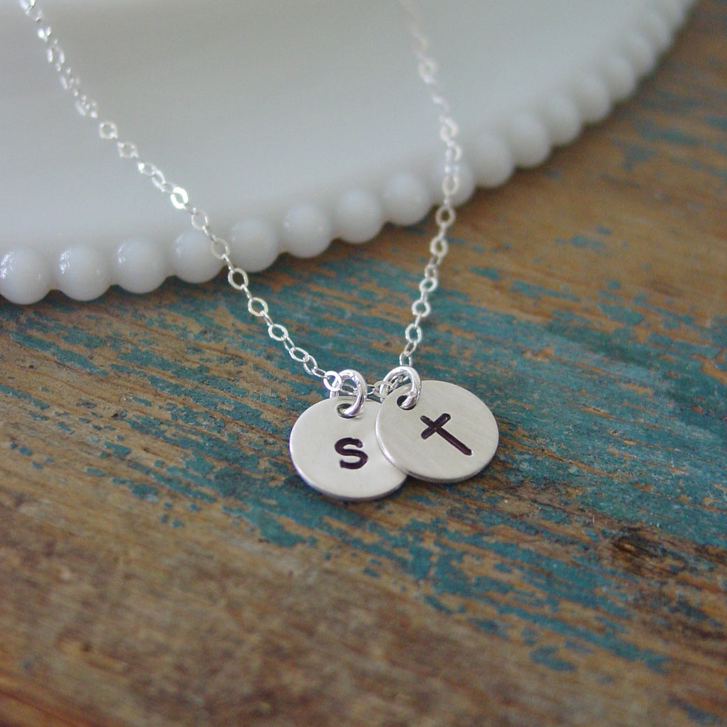 Sterling Silver Initial Cross Necklace - Necklace - [PearlieGirl]