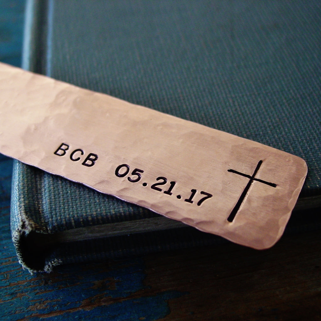 Personalized Cross Bookmark | Monogram & Date - Bookmark - [PearlieGirl]