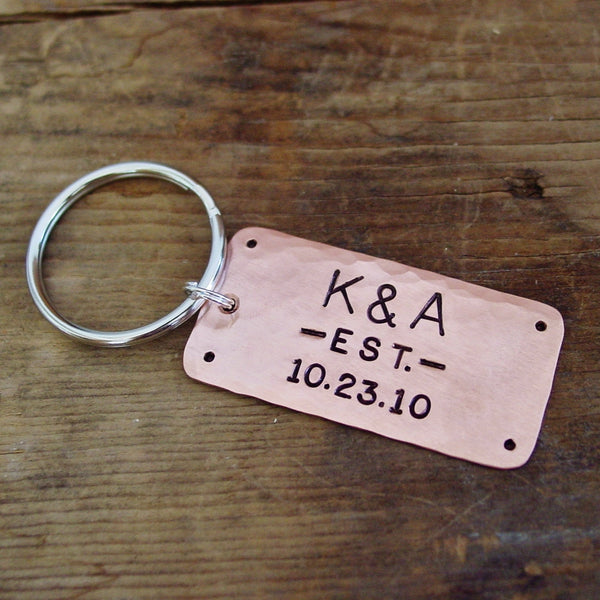 Family Established Copper Keychain | Initials & Date - Keychain - [PearlieGirl]