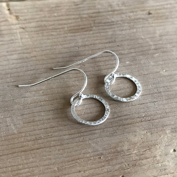 Sterling Silver Hammered Hoop Earrings - Earrings - [PearlieGirl]