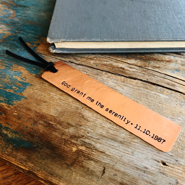 God Grant Me The Serenity Bookmark, Personalized Sobriety Date, Recovery 12 Step Gift - Bookmark - [PearlieGirl]