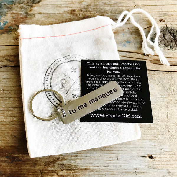 Tu Me Manques Keychain French Quote, Missing You Long Distance Gift - PearlieGirl