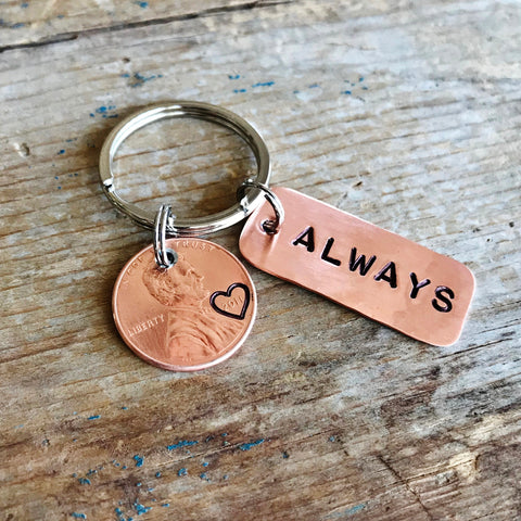 Always Stamped Penny Keychain, Copper 7th, 22nd Anniversary Gift - PearlieGirl
