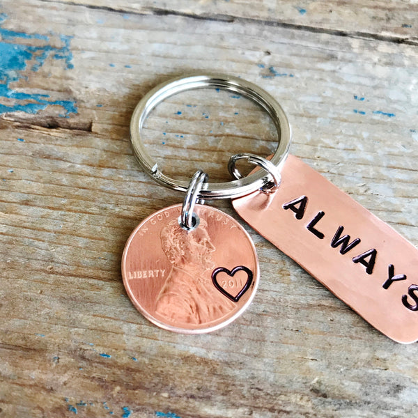 Always Penny Keychain | Copper 7th Anniversary Gift - Penny Keychain - [PearlieGirl]