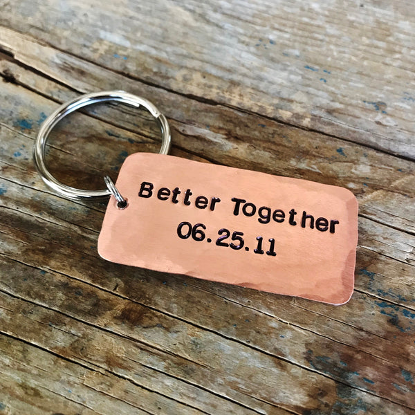 Better Together Custom Date Keychain, Husband Wife Copper Anniversary Gift - PearlieGirl