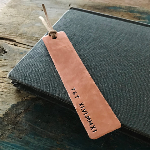 Couple Initials & Roman Numeral Copper Bookmark - PearlieGirl