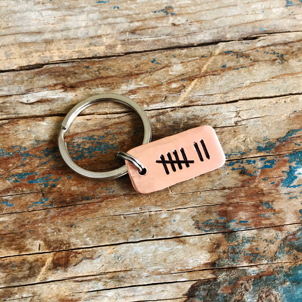 Tally Mark Key Chain, Husband or Wife Copper Anniversary Gift - PearlieGirl