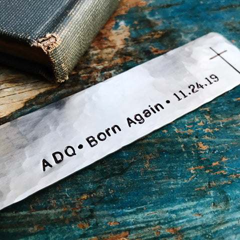 Born Again Christian Gift, Cross Date Monogram Bookmark, Adult Baptism - PearlieGirl