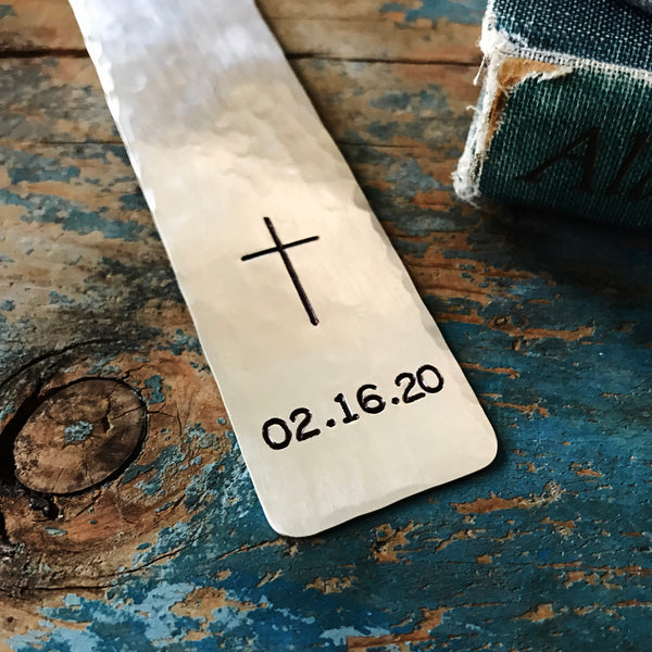 Silver Cross Bookmark, Personalized Date, Boy or Girl Religious Gift - Bookmark - [PearlieGirl]