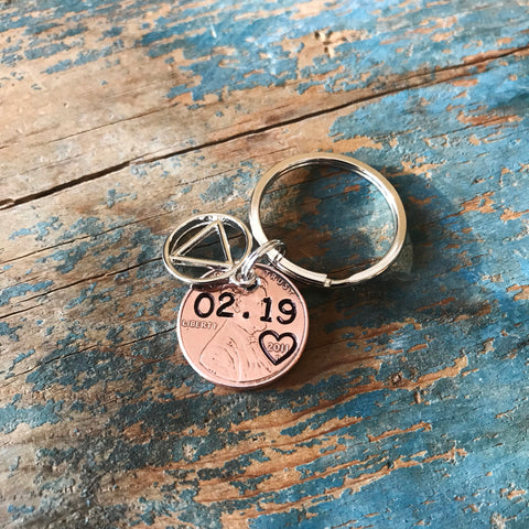1 Year Sober Penny Keychain, Personalized Sobriety Coin, AA or NA Charm - PearlieGirl