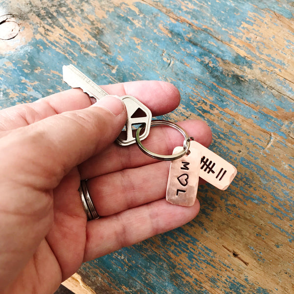 Couple Initials Tally Mark Key Chain, Husband or Wife Copper Anniversary Gift - PearlieGirl