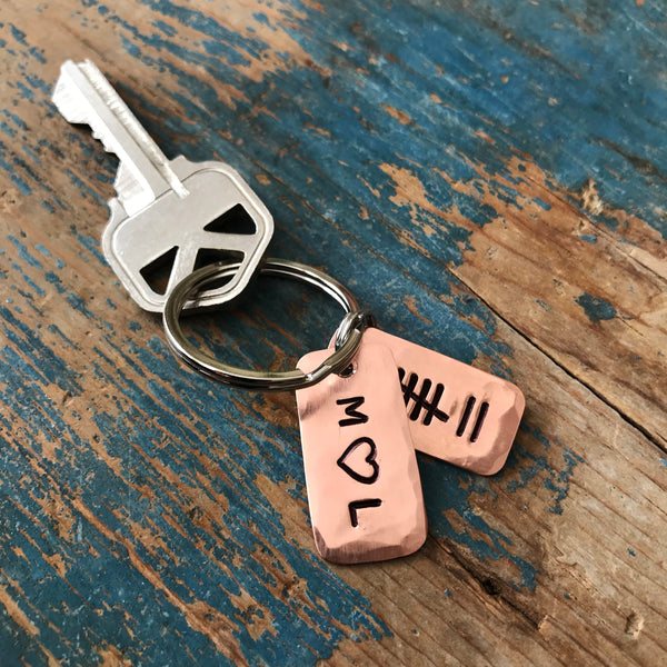 Couple Initials Tally Mark Key Chain, Husband or Wife Copper Anniversary Gift - Keychain - [PearlieGirl]