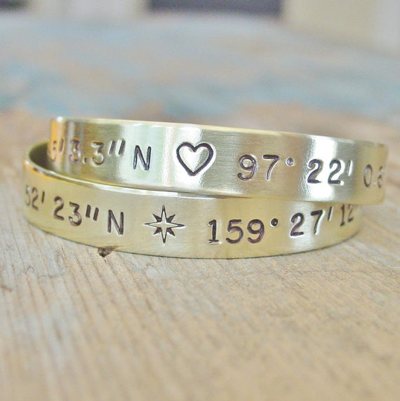 Brass Anchor Cuff Bracelet, Custom Latitude Longitude Location Jewelry - PearlieGirl