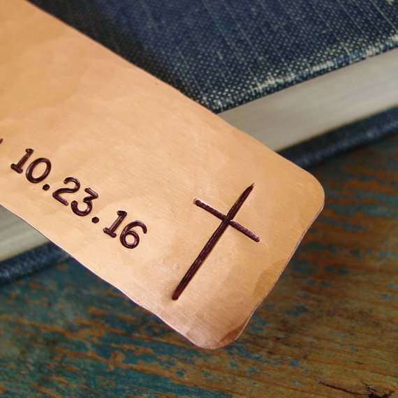 Cross Bookmark In Copper | Personalized Name and Date - PearlieGirl
