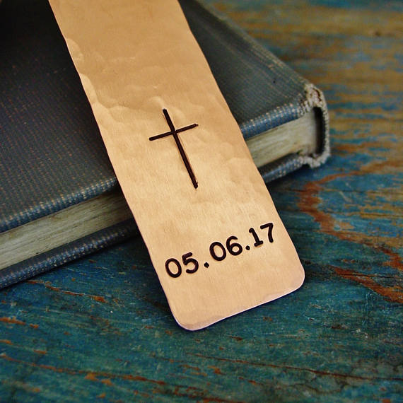 Copper Cross Bookmark with Personalized Date - Bookmark - [PearlieGirl]