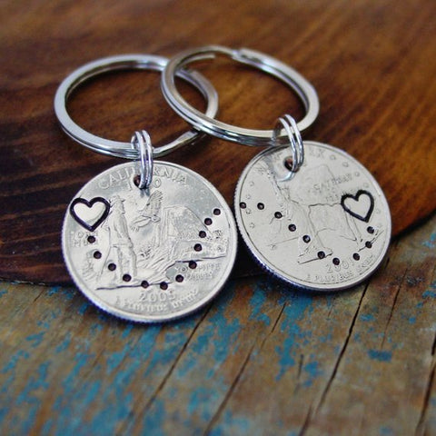 State to State Quarters Key Chain Set | Long Distance Relationship Gift - Dime Keychain Set - [PearlieGirl]