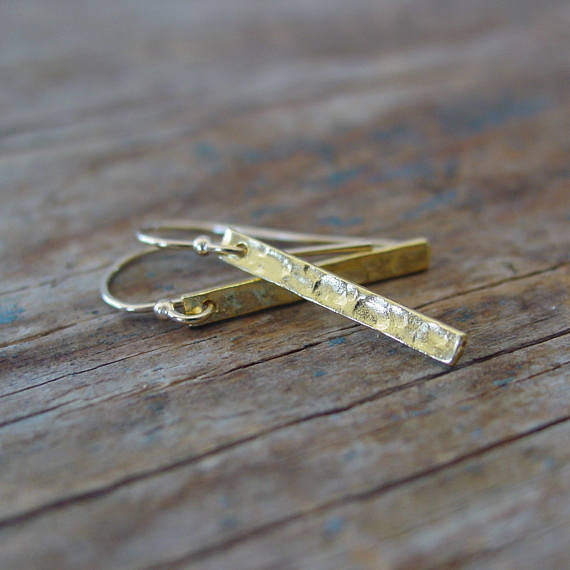 Hammered Gold Bar Earrings - PearlieGirl