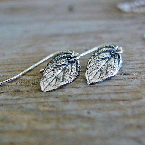 Delicate Sterling Silver Leaf Earrings - PearlieGirl